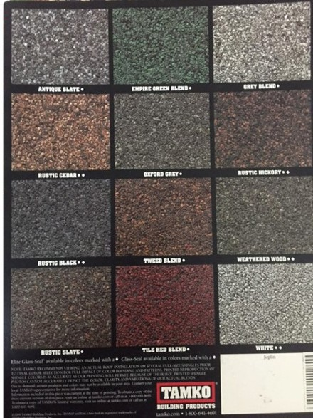 Tamko Shingle Color Samples